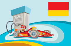 Gas station for champions. Vector cartoon style illustration of a racing car fuel reloading Stock Image