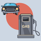 Gas station circle icon with shadow Stock Photography