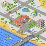 Gas station in city map isometric 3D vector illustration of cars petrol fuel filling station in riverside town. Gas station and city map isometric 3D vector Stock Photos