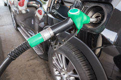 Gas station, closeup photo of fueling nozzle Stock Photo