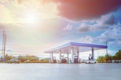 Gas station with clouds and blue sky fotografía de archivo