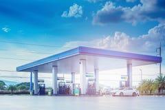 Gas station with clouds and blue sky imágenes de archivo libres de regalías