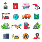 Gas Station Color Icons Set Stock Images