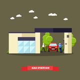 Gas station concept banners. Vector illustration in flat style. Driver fuel to his car Stock Photos