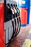 Gas station concept - nozzles royalty free stock photography