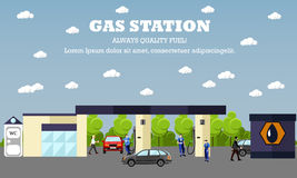 Gas station concept vector banner. Transport related service buildings. People fuel their cars.  Stock Images
