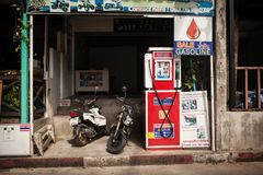 Gas station in thailand royalty free stock photos
