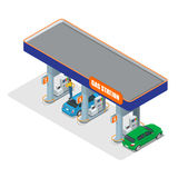Gas station 3d isometric. Gas station concept. Gas station flat vector illustration. Fuel pump, car, shop, oil station. Gasoline. Gas station EPS. Refilling Royalty Free Stock Image