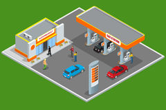 Gas station 3d isometric. Gas station concept. Gas station flat vector illustration. Fuel pump, car, shop, oil station Royalty Free Stock Image