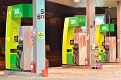 Gas station fuel pumps details  Stock Photography