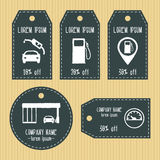 Gas station discount gift tags from chalky texture. Ready to use. Flat design. Vector Stock Photo