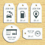 Gas station discount gift tags. Ready to use. Flat design. Vector Royalty Free Stock Images