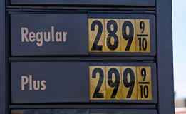 Gas station display. Rising gas prices, september 2005 Royalty Free Stock Photo