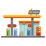 Gas station. Energy. Set of elements for construction of urban and village landscapes. Vector flat illustration Stock Photos