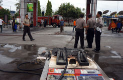 Gas station fire Stock Image