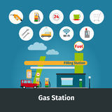 Gas station with flat icons Royalty Free Stock Photo