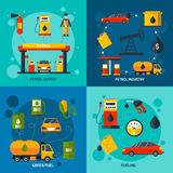 Gas station 4 flat icons square Stock Image