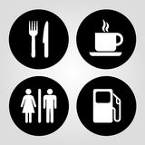 Gas station, food, coffee cup and wc vector Royalty Free Stock Image
