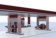 Gas station. Fuel dispensing front. Three-dimensional illustration. rendering. fuel dispensers are under a canopy Royalty Free Stock Images