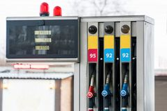 Fuel pumps at petrol station. Gas station. Fuel pumps at petrol station royalty free stock image