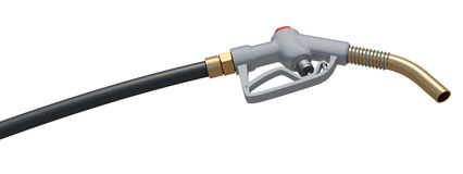 Gas station gun and hose. Bottom view. Isolated Royalty Free Stock Photography