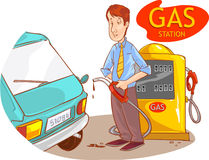 Gas station and the guy Stock Image