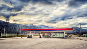 Gas station on the highway in Croatia with no customers and no cars. VRGORAC, CROATIA - FEBRUARY 26: Gas station on the highway in Croatia with no customers and Stock Image