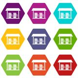 Gas station icon set color hexahedron. Gas station icon set many color hexahedron isolated on white vector illustration Royalty Free Stock Photo