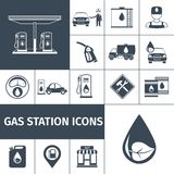 Gas Station Icons Black Stock Photography