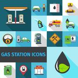 Gas Station Icons Flat Stock Photography