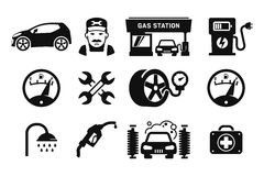 Gas station icons. Gas station and Fuel pump icons set 03 Royalty Free Stock Photos