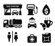 Gas station icons. Gas station and Fuel pump icons set 01 Stock Photos