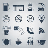 Gas station icons. Fuel silhouette icons. Monochrome. Vector. Illustration Royalty Free Stock Images