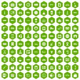 100 gas station icons hexagon green Royalty Free Stock Images