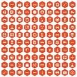 100 gas station icons hexagon orange Stock Photos