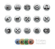 Gas Station Icons -- Metal Round Series. The Vector file includes 5 color versions for each icon in different layers Stock Image