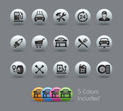 Gas Station Icons Pearly Series Royalty Free Stock Photo
