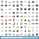 100 gas station icons set, cartoon style. 100 gas station icons set in cartoon style for any design vector illustration Royalty Free Illustration