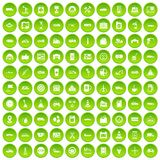 100 gas station icons set green circle. Isolated on white background vector illustration Stock Image