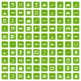 100 gas station icons set grunge green. 100 gas station icons set in grunge style green color isolated on white background vector illustration Royalty Free Stock Image