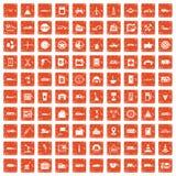 100 gas station icons set grunge orange. 100 gas station icons set in grunge style orange color isolated on white background vector illustration Royalty Free Stock Images