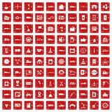 100 gas station icons set grunge red. 100 gas station icons set in grunge style red color isolated on white background vector illustration Royalty Free Stock Images