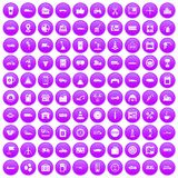 100 gas station icons set purple. 100 gas station icons set in purple circle isolated on white vector illustration Stock Photos