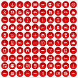 100 gas station icons set red. 100 gas station icons set in red circle isolated on white vector illustration Royalty Free Stock Photo