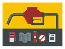 Gas station illustration. Contains various items related to a gas station Royalty Free Stock Photos
