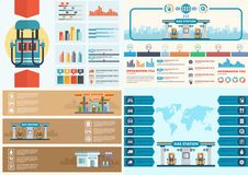 Gas station infographic. Filling station vector. Illustration. Oil industry concept. Clipart. Flat style Stock Image