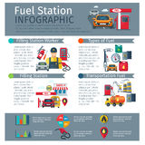Gas Station Infographic Set. With worker types of fuel and transportation symbols flat vector illustration Royalty Free Stock Photography