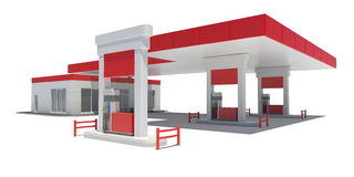Gas Station. Isolated render on a white background vector illustration