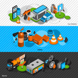 Gas station isometric banners set. Gasoline diesel fuel station isometric banners set with convenience shop and safety equipment abstract isolated vector Royalty Free Stock Images