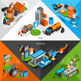 Gas station isometric corners set Royalty Free Stock Images